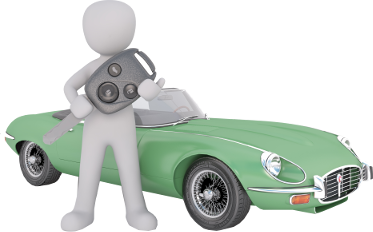Personnage devant une automobile avec les clés du véhicule.