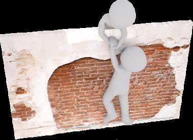 Deux personnages qui travaillent ensemble pour franchir un mur.