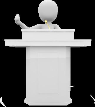 Personnage donnat un discours à une assemblée.